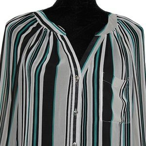 bebe Tops - BEBE Sheer Button Down Striped Blouse size Small